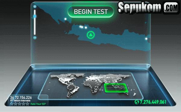 Tampilan Speedtest Versi Web