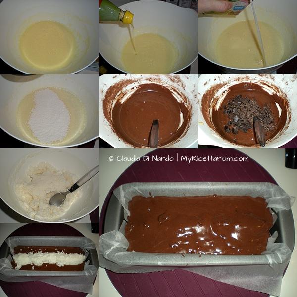Plumcake al cacao, con cuore al cocco e pezzi di cioccolato fondente