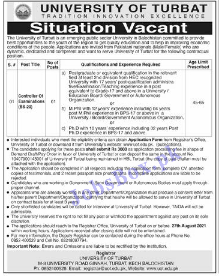 www.uot.edu.pk Jobs 2021 - UOT University of Turbat Jobs 2021 in Pakistan