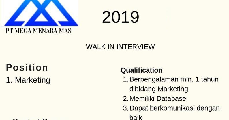 Walk In Interview Pt Mega Menara Mas Bandung Juli 2019 Info Loker Bandung 2021