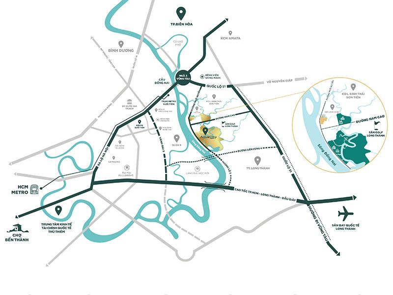 vị trí khu đô thị aqua city