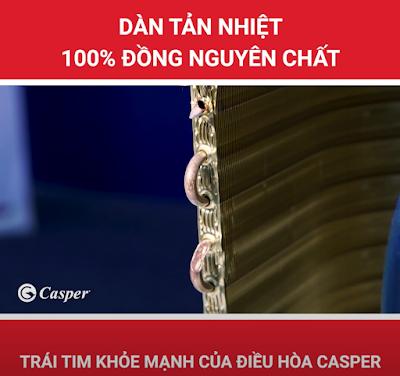 Điều hòa Casper sử dụng dàn tản nhiệt 100% ống đồng nguyên chất