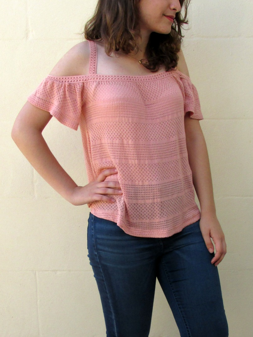 Summer outfit 2016, crochet cold shoulder top, denim jeans, tan cross strap sandals, accessorize pendant necklace
