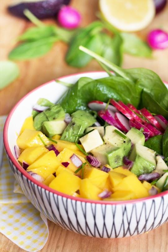 recette Salade de mangue et épinard