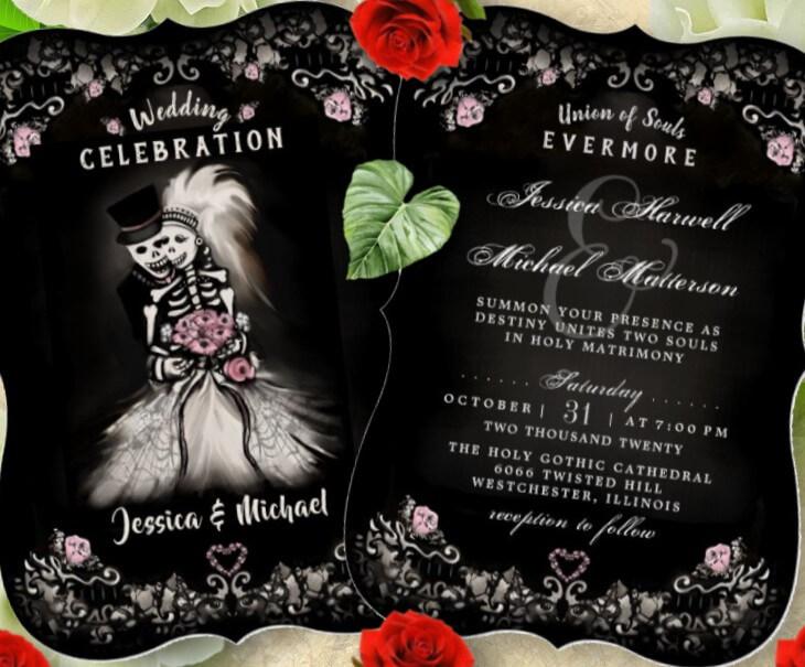 Halloween Skeletons Wedding Invite - Pink Floral