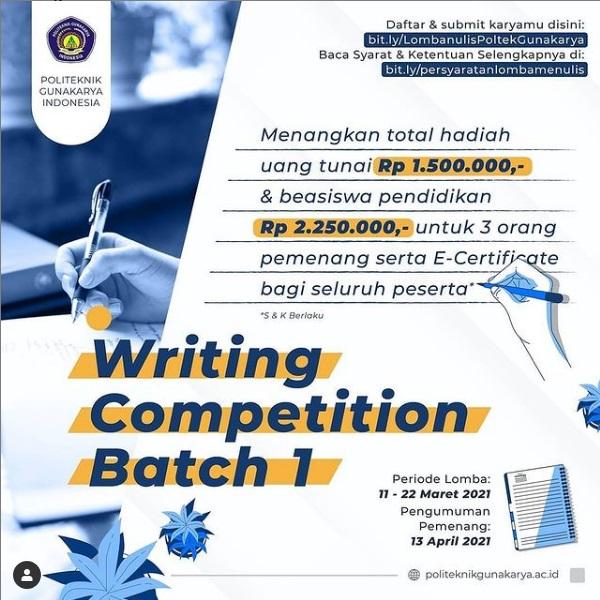 Writing Competition Batch 1 Politeknik Gunakarya