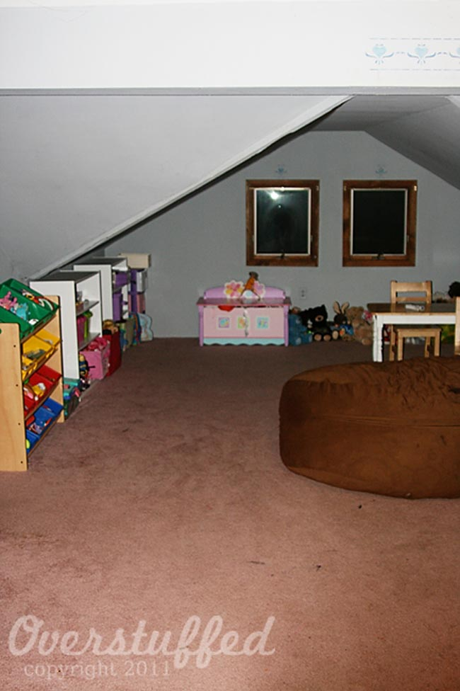 The playroom before it was recarpeted and painted.