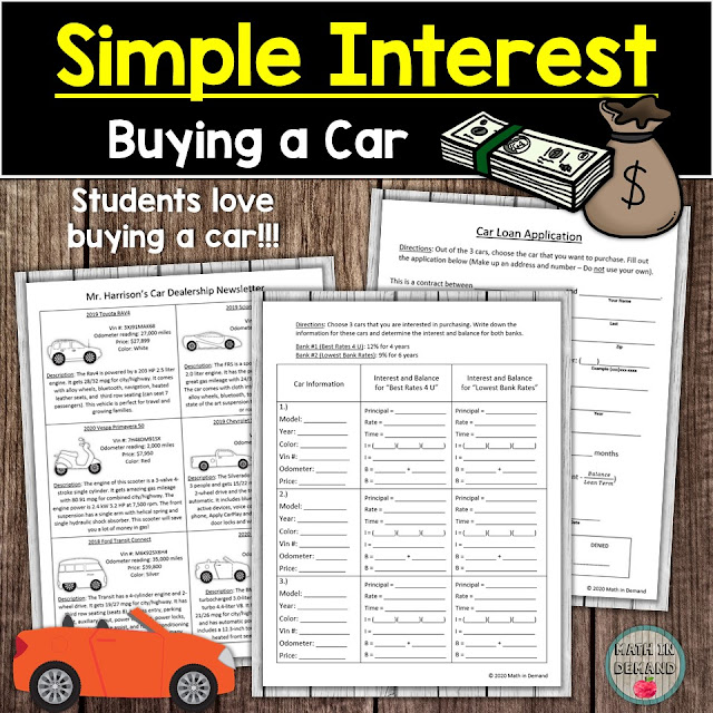 Simple Interest Buying a Car Activity