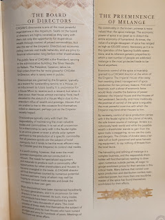 A page of text from the rulebook, with the border, background colour, and sidebars visible.