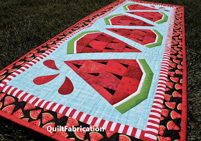 watermelon slices alternate on aqua background