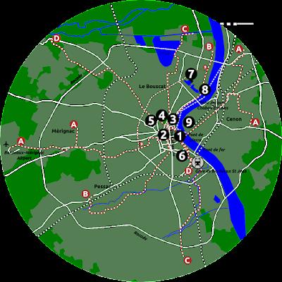 Map of Bordeaux.