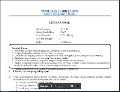 Soal dan Jawaban PAT PPKn Kelas 8 Kurikulum 2013