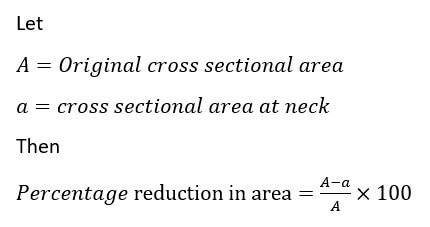 Percentage reduction in area