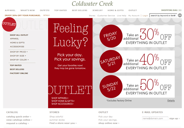 Coldwater Creek 50% off Outlet Items + 30% off & Shipping Code