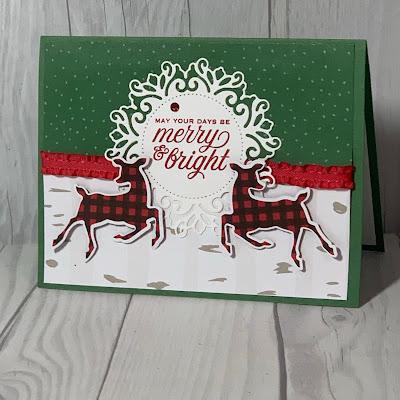 Deer-themed handmade Christmas card featuring Stampin' Up! Peaceful Deer Bundle