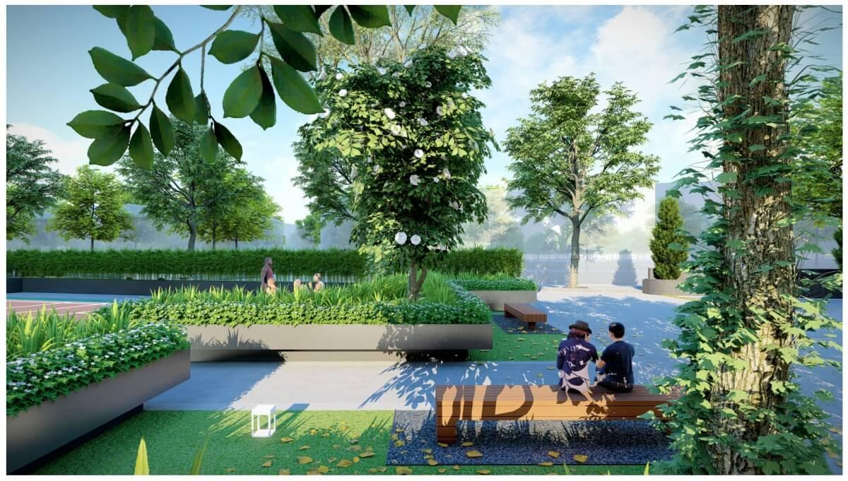 Vườn ngoài trời dự án Rose Town Ngọc Hồi