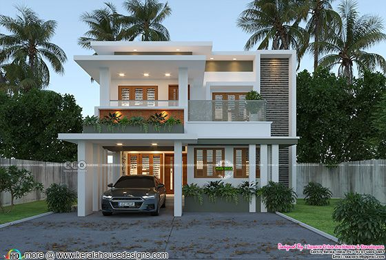 Contemporary flat roof house 1500 square feet