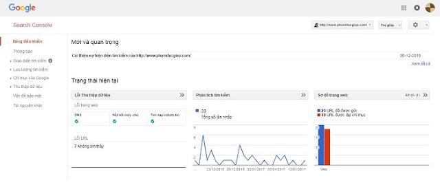 Trang tổng quan của google webmaster tools