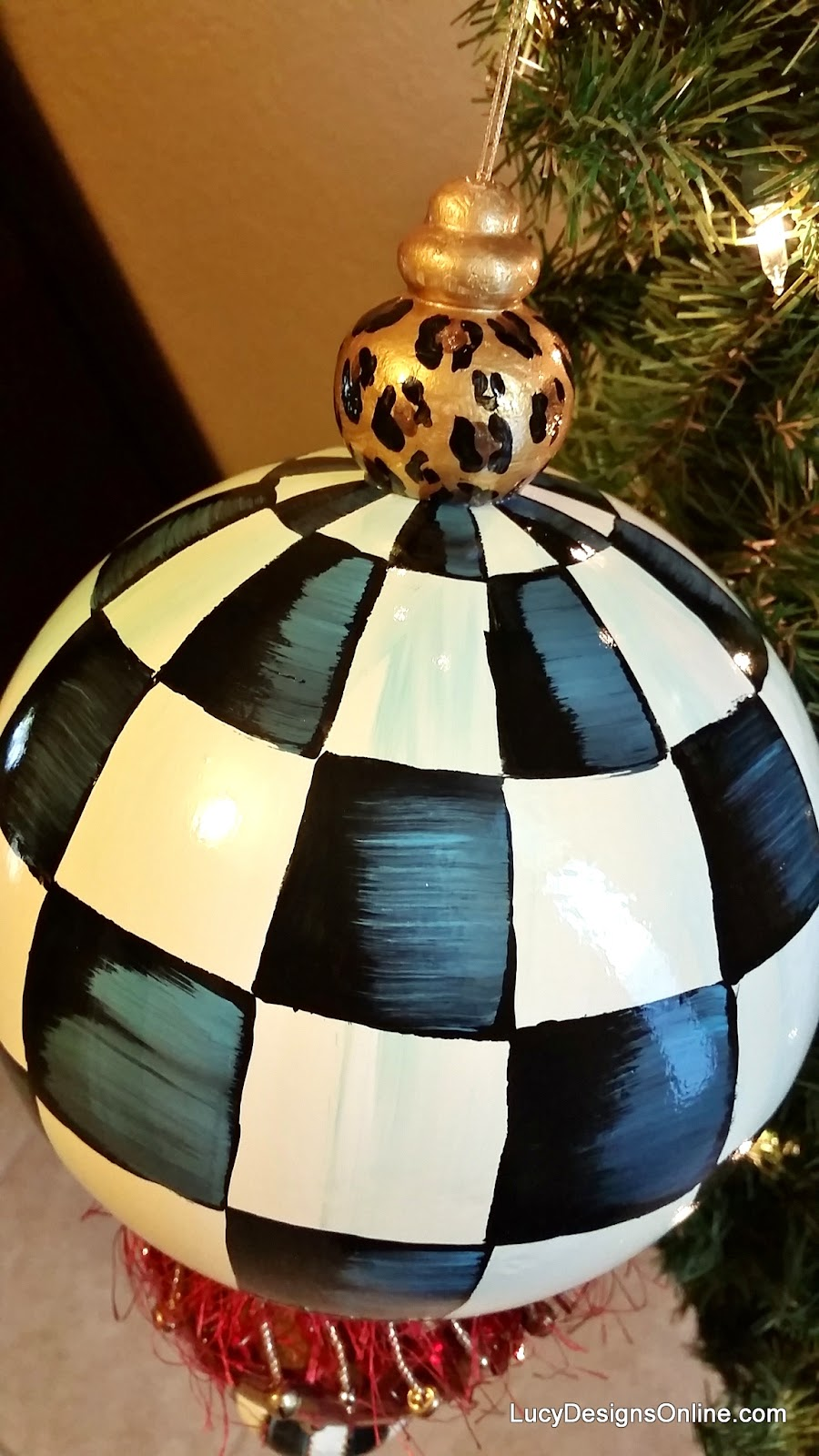 giant black and white check Christmas ornament