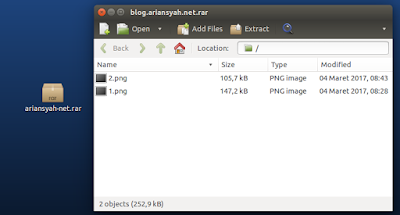 memasukan file di archive manager