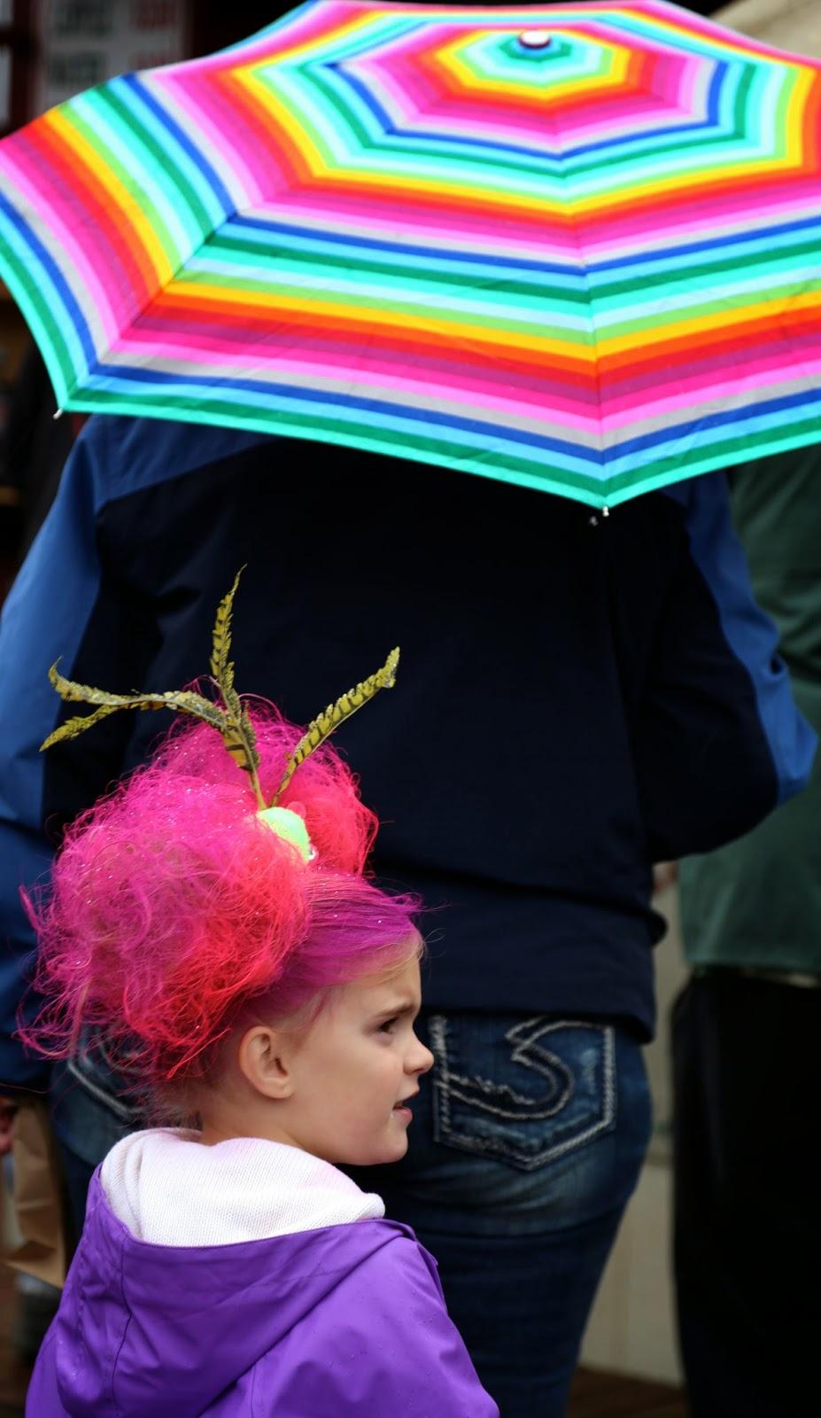 Child with 'wild hair', Alaska State Fair