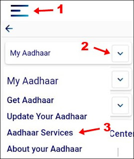 1st click three line 2nd my aadhaar 3aadhaar services par click kare