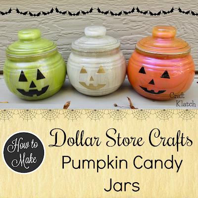 Pumpkin Candy Jars Dollar Store Halloween Craft Ideas Craft Klatch