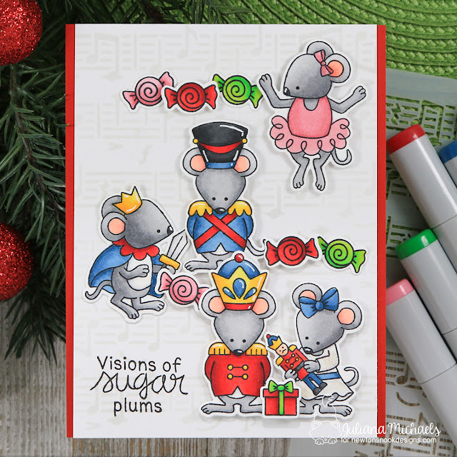 Visions Of Sugarplums Card by Juliana Michaels featuring Newton's Nook Designs Nutcracker Squeak Stamp Set