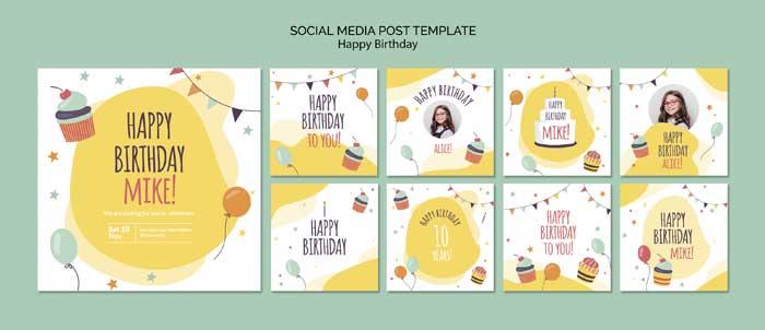 Happy Birthday Concept Social Media Post Template