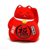amuleto maneki neko rojo