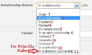what are the relationship status options on facebook