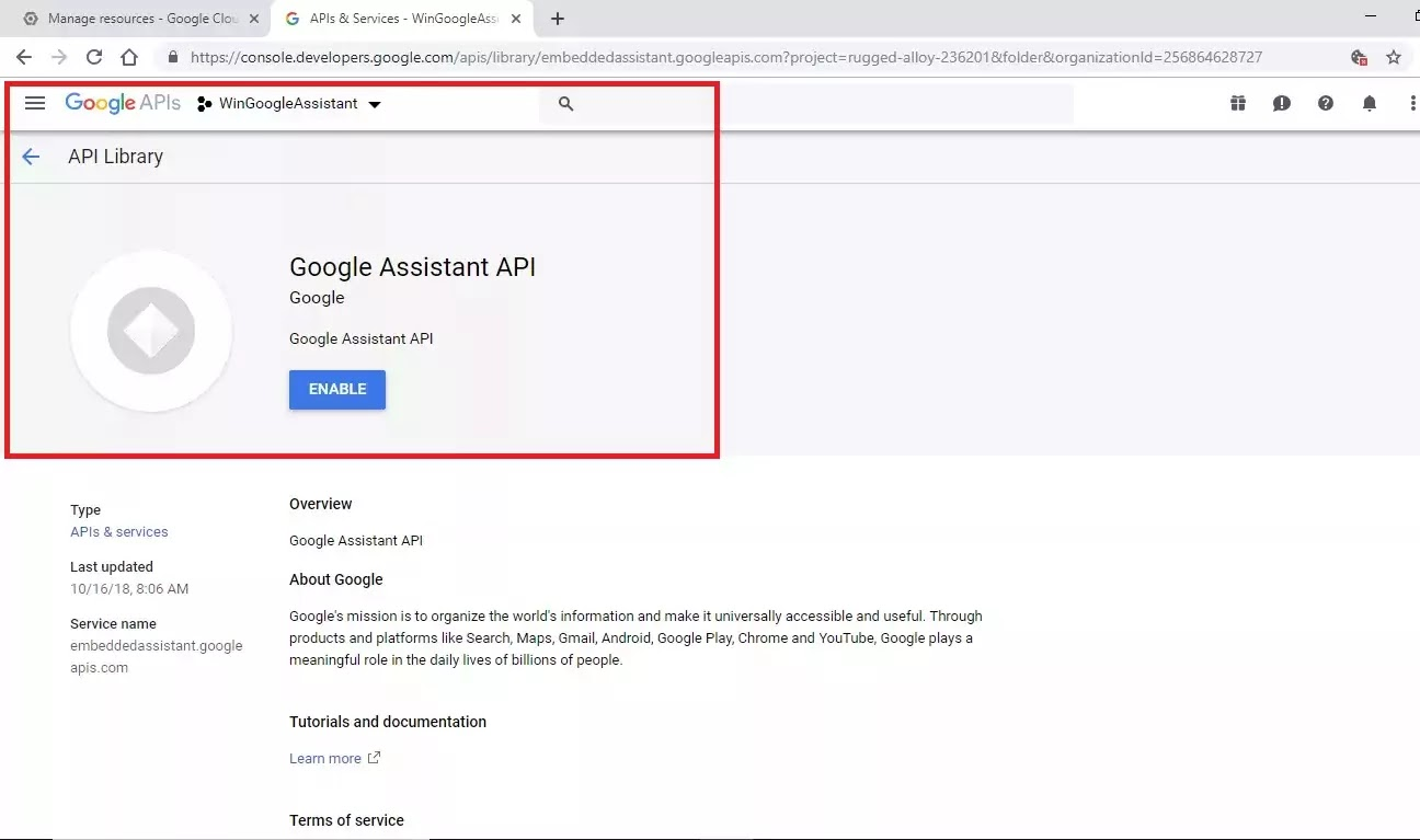 Google Assistant API with ENABLE button displayed