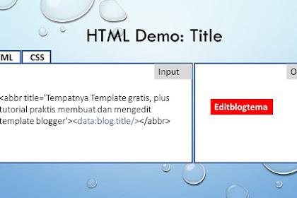 Cara menngunakan atribut HTML pada judul menu navigasi halaman blog