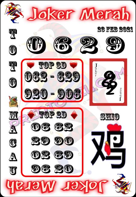 Prediksi Joker Merah Macau Selasa 23 Februari 2021