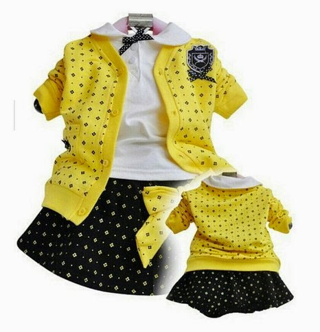 SOPO Toddler Girl 3 Piece Set (Campus Jacket, Shirt, Skirt) Yellow 2t - 5t