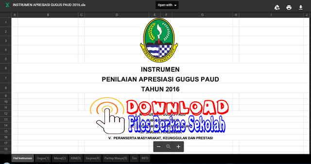 Download Instrumen Penilaian Apresiasi Gugus PAUD Tahun 2016 Format Excel