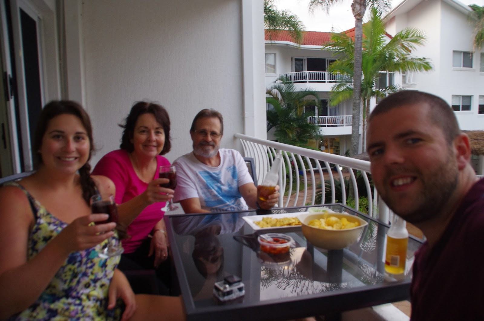 Le beach Apartments Burleigh Heads Family on Balcony