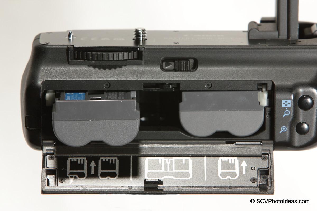 Canon BG-E2N Battery Grip BP-511A battery pack installation