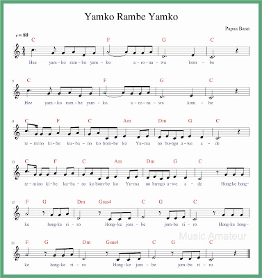 not balok lagu yamko rambe yamko