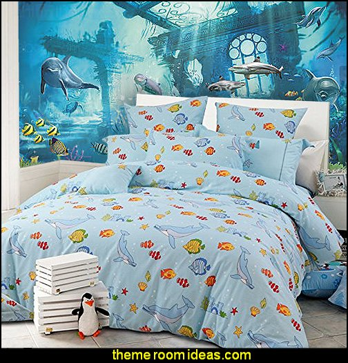Fishs Print Bedding  underwater bedroom ideas - under the sea theme bedrooms - mermaid theme bedrooms - sea life bedrooms - Little mermaid princess Ariel - Sponge Bob theme bedrooms - mermaid bedding - Disney's little mermaid - clamshell bed - mermaid murals - mermaid wall decal stickers -