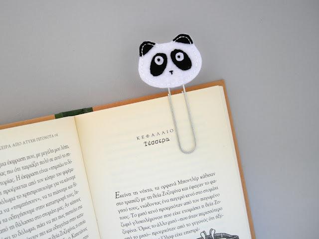 felt panda bookmark