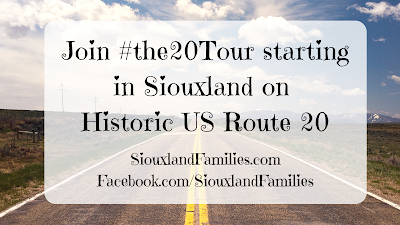 "in background, an empty highway drives through flat dusty grassland with a blue sky full of clouds. in foreground, ""Join #the20Tour starting in Siouxland on Historic US 20"""
