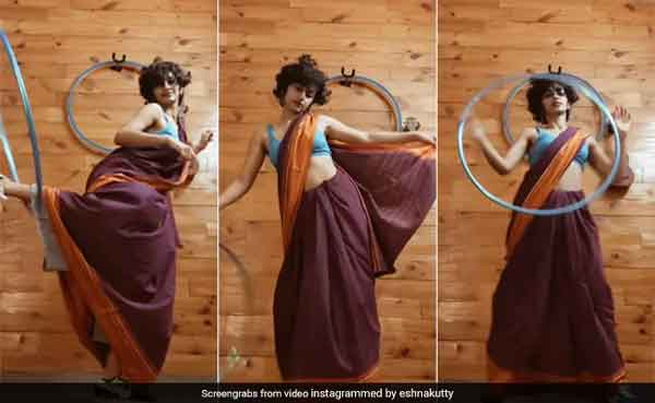 News, Kerala, State, Kochi, Viral, Video, Social Network, Twitter, Instagram, Mother, Dance, Entertainment, Saree, Sneakers And A Hula Hoop: This Dance To 'Genda Phool' Has Twitter Impressed