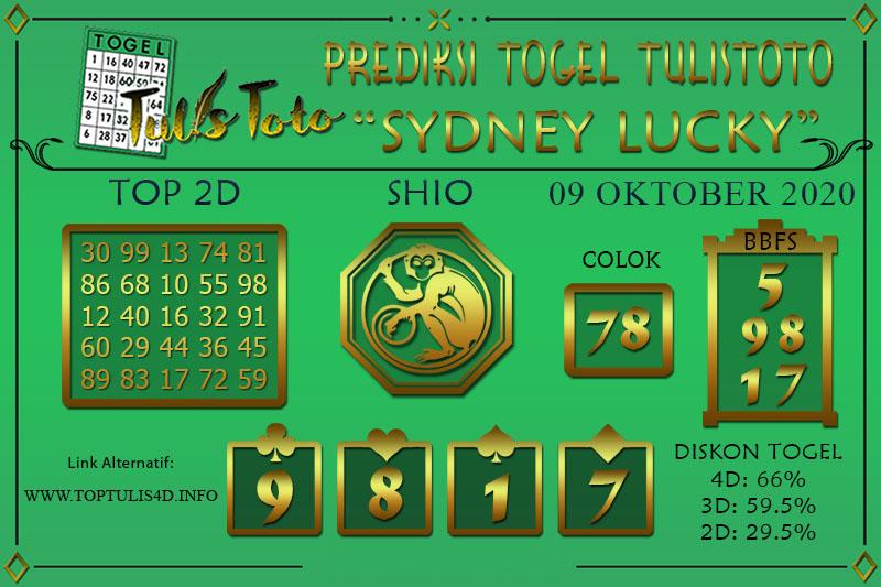 Prediksi Togel SYDNEY LUCKY TODAY TULISTOTO 09 OKTOBER 2020