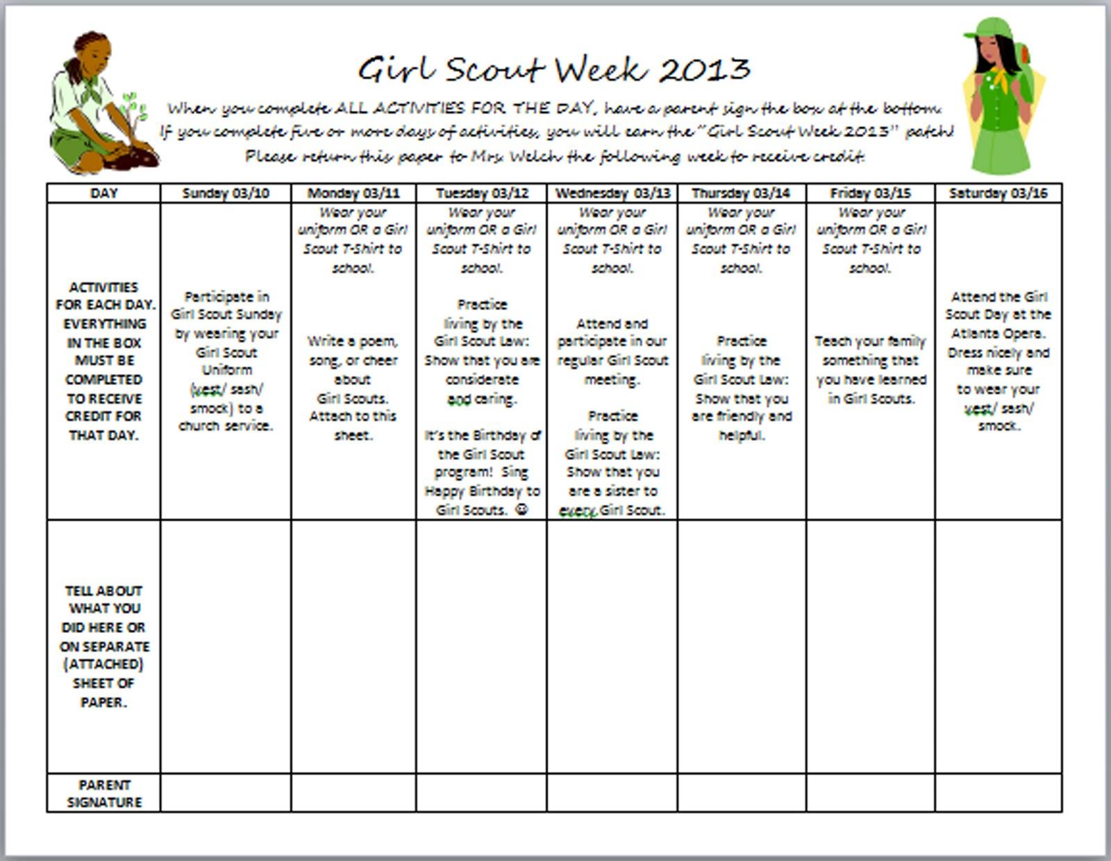 Girl Scout Troop Girl Scout Week Calendar