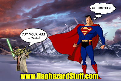 Superman cut by lightsaber