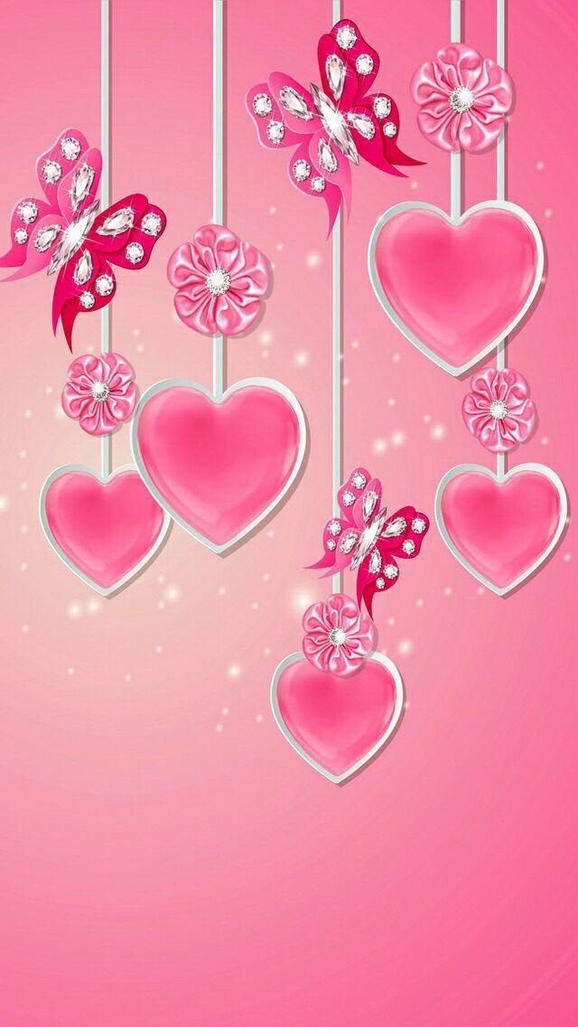 Corações E Borboletas Papel De Parede Para Celular