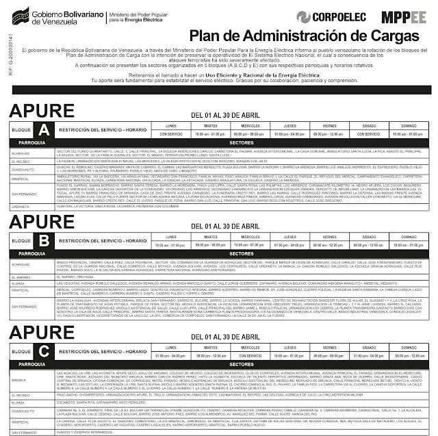 APURE: Conozca plan de racionamiento eléctrico en la entidad llanera del mes de abril 2019.