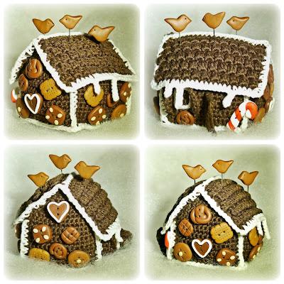 Gehäkeltes Lebkuchenhaus-Nadelkissen mit Lebkuchen-Knöpfen