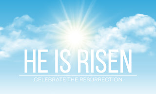 Clipart image of a He is Risen background with sunlight
